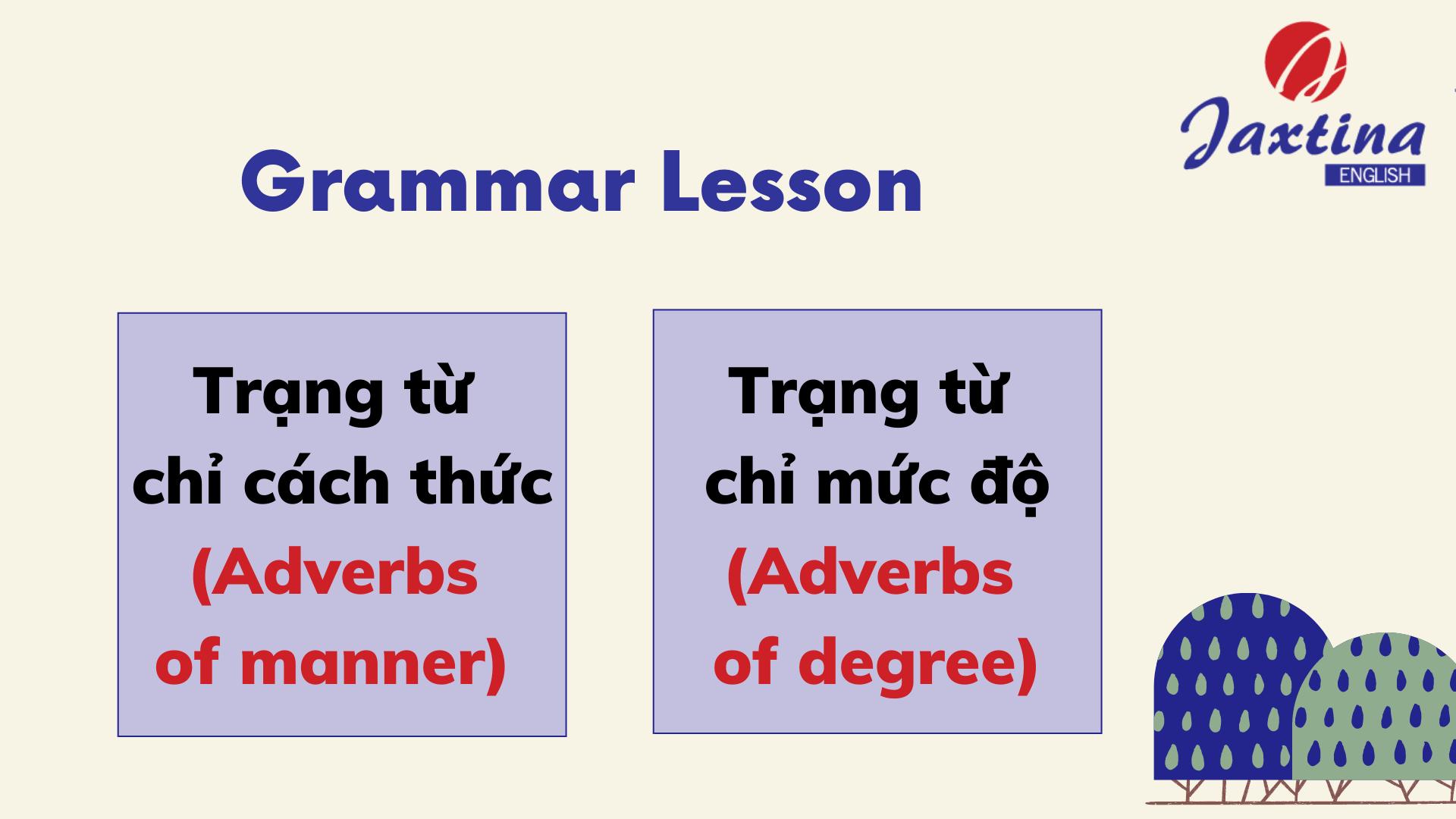 Trạng từ chỉ cách thức và trạng từ chỉ mức độ (Adverbs of manner & Adverbs of degree)