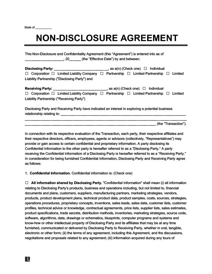 Thỏa thuận bảo mật thông tin bằng tiếng Anh