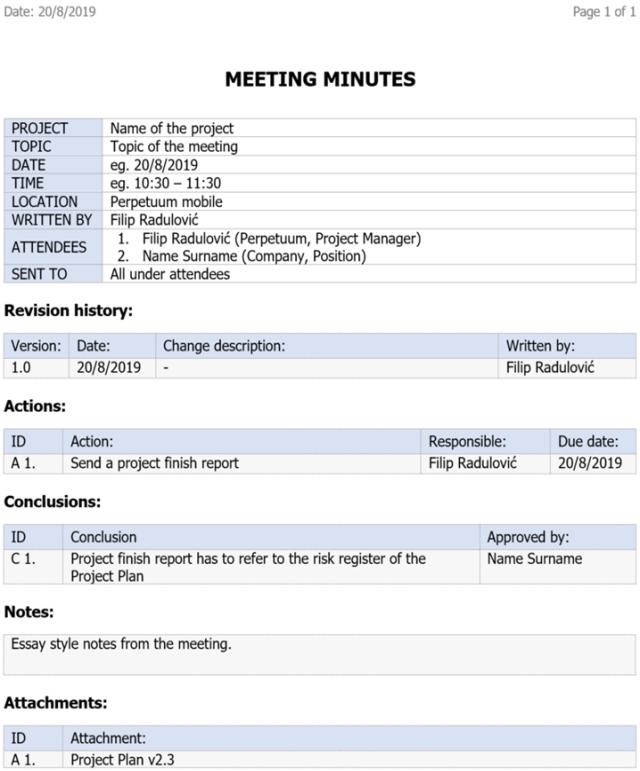 Minutes for your Business meetings (Biên bản tường thuật cuộc họp)