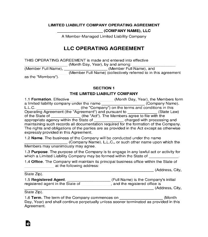 Văn bản Thỏa thuận hoạt động của công ty trách nhiệm hữu hạn tiếng Anh